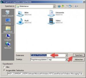 Outlook Profil exportieren