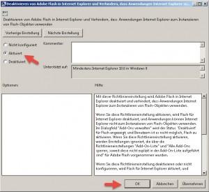Adobe Flash im IE abschalten aktivieren