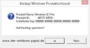 Backup Windows Produktschluessel