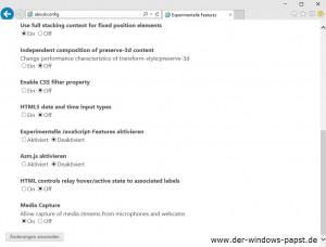 Windows 10 Internet Explorer Experimentelle Feature