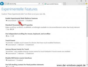 Windows 10 Internet Explorer about config