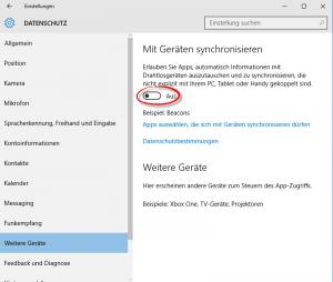 Windows 10 Datenschutz Geräte