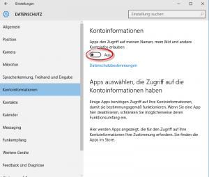 Windows 10 Datenschutz Konten