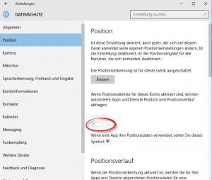 Windows 10 Datenschutz Position