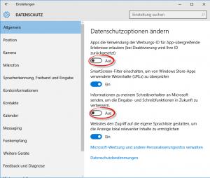 Windows 10 Datenschutz erhöhen