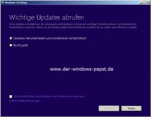 Windows 10 Suche nach wichtigen Updates