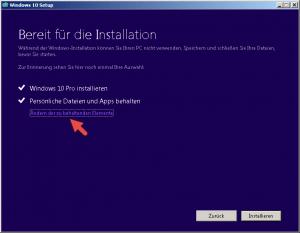 Windows 10 bereit für die Installation