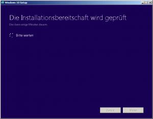 Windows 10 die Installationsbereitschaft wird geprüft