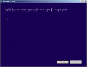 Windows 10 wir bereiten gerade einige Dinge vor