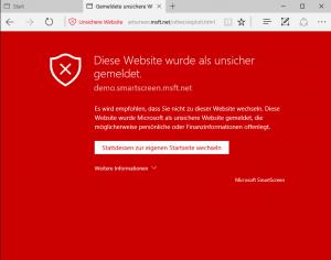 SmartScreen Diese Webseite wurde als unsicher gemeldet