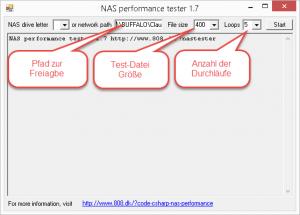 NAS Performance Tester Einstellungen