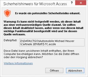 Sicherheitshinweis für Microsoft Access