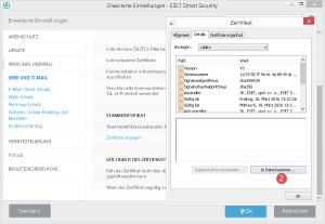 ESET Stammzertifikat in Datei kopieren