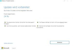 Windows 10 Anniversary Update Installationfortschritt
