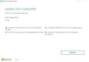 Windows 10 Anniversary Update wird installiert