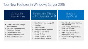 Windows Server 2016 neue Feature