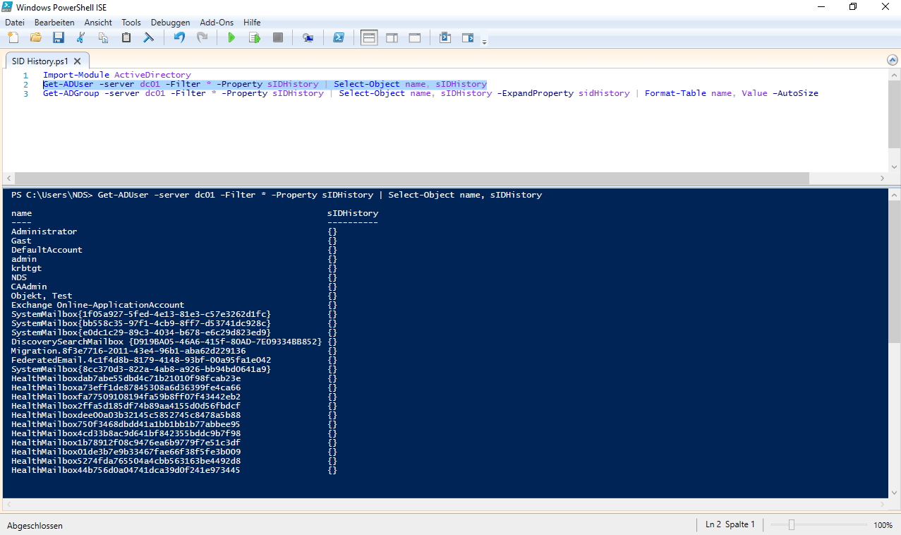 Read Powershell AD - SID History - The Windows Pope - IT