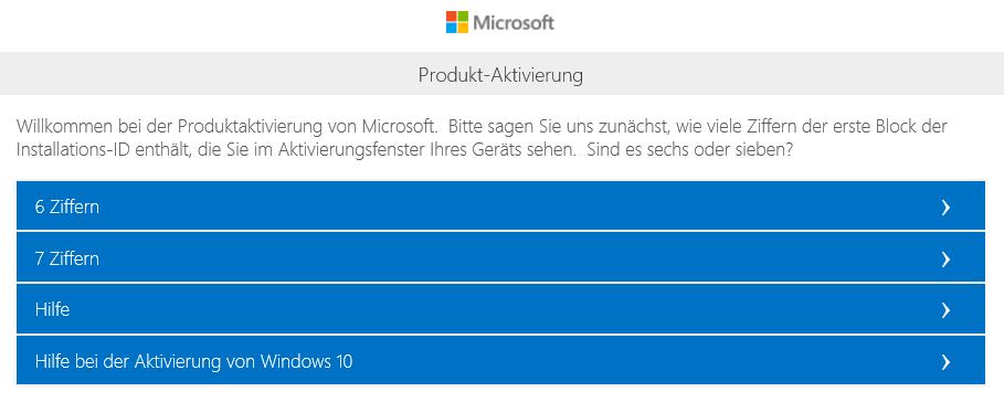 Telefonische Aktivierung Windows 10