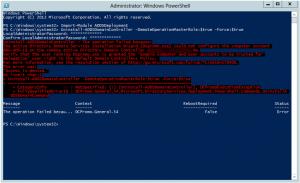 Powershell demoting DC access denied