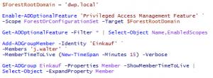 Server 2016 - Privileged Access Management Berechtigung auf Zeit