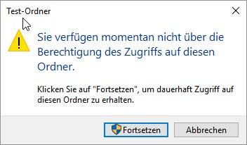 Windows 10 sie verfügen momentan nicht über die berechtigung des zugriffs auf diesen ordner