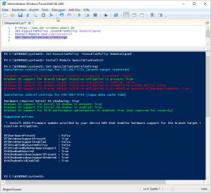 Microsoft SpeculationControl Powershell
