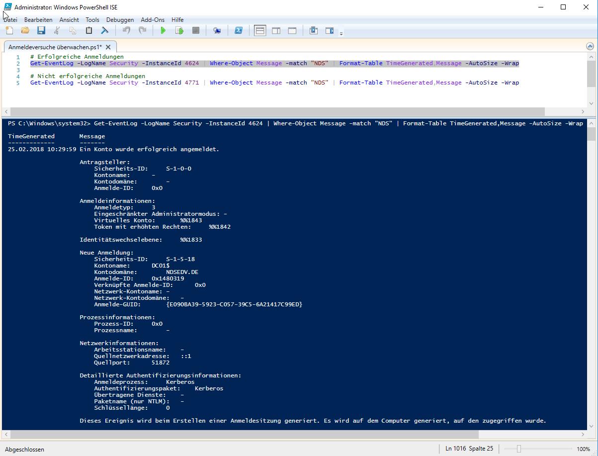 Windows Domäme Anmeldung Event ID 4624