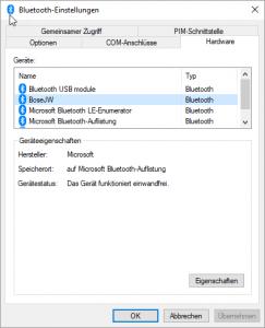 Windows Bose be quiet 35 II Bluetooth Einstellungen