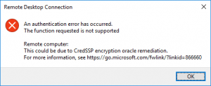 CredSSP Authentifizierungs Fehler 8 Mai 2018 Patch Windows 10