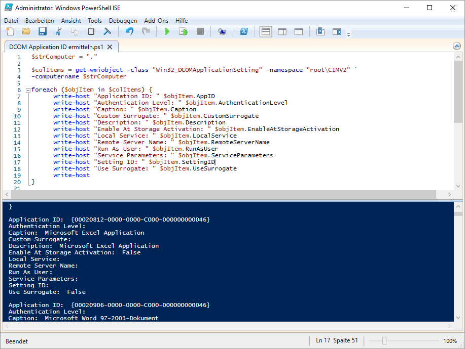 Powershell WMI - Detecting DCOM Application ID Settings