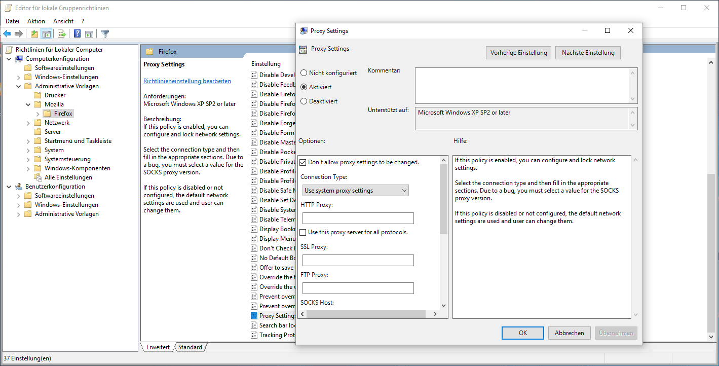 Firefox 60 Group Policy Proxy Settings - The Windows Pope