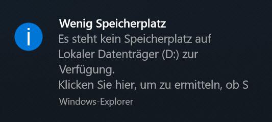 Windows 10 Funktionsupdate 1803 Wenig Speicherplatz