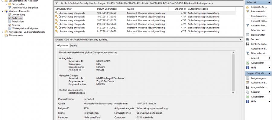 Microsoft Windows Security Auditing Sicherheitsgruppenverwaltung