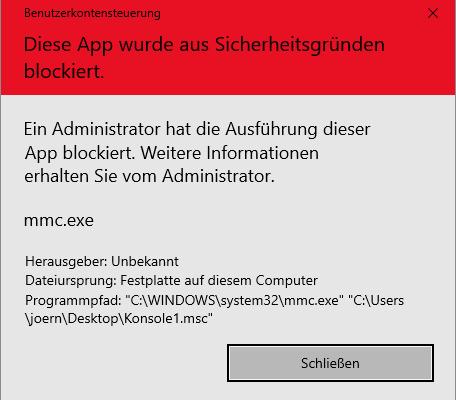 Diese App wurde aus Sicherheitsgründen blockiert