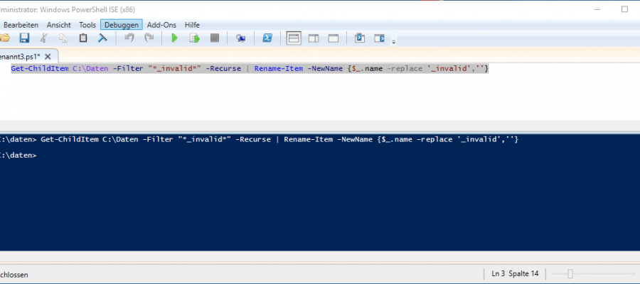 Powershell file replace extension