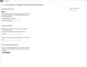 Windows 10 Automatische Freigabe von Speicherplatz