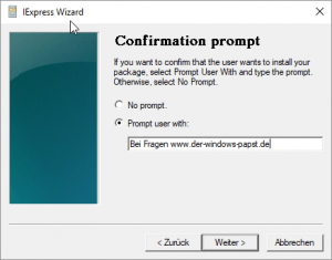 Confirmation prompt