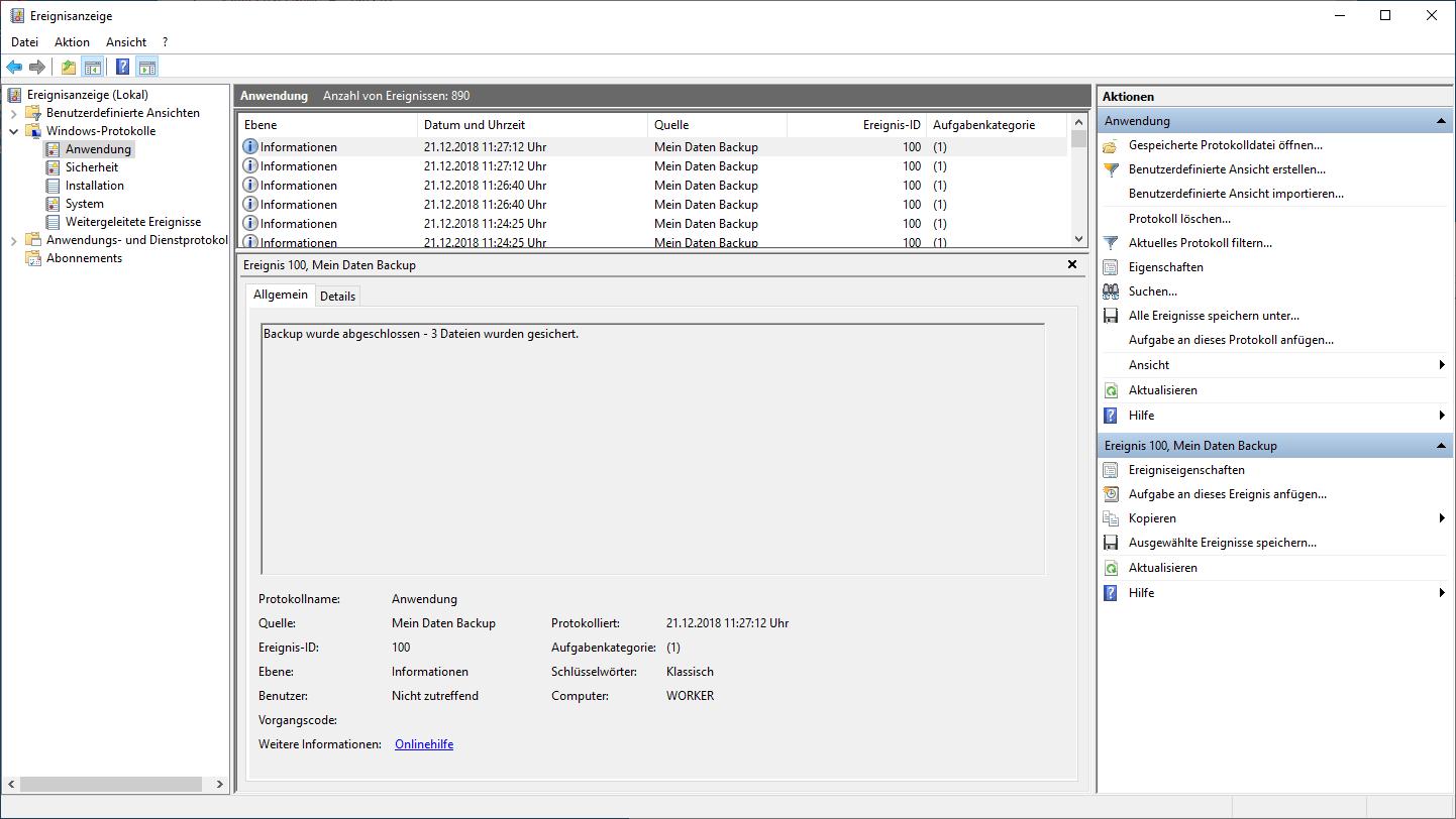 Datei Backup und Log Eintrag