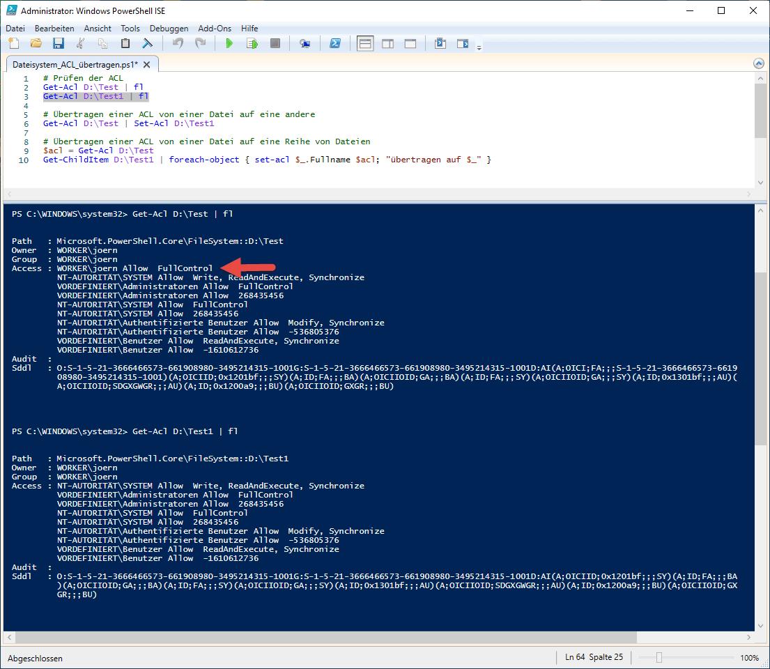 Dateisystem ACL übertragen