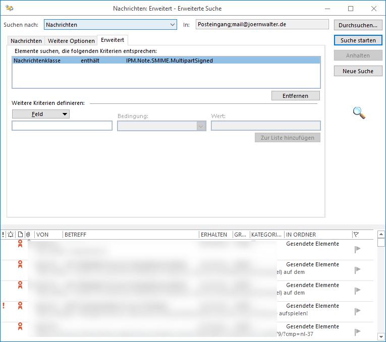 Outlook Suche nach signierten und oder verschlüsselten E Mails