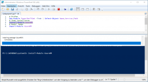 Powershell Modul AzureRM installation completed