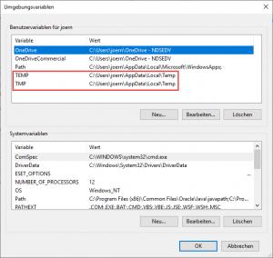 Umgebungsvariablen Windows Server 2019 Bug