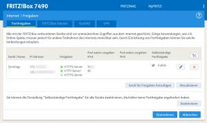 Fritzbox Synologie Port Freigabe
