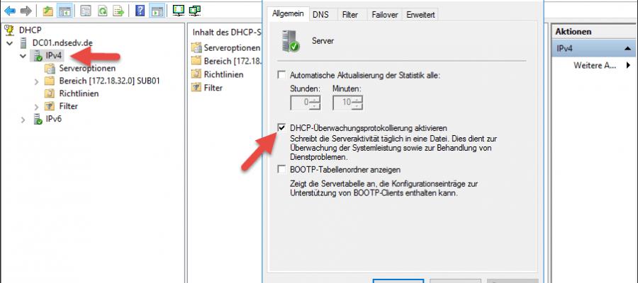 DHCP Überwachung aktivieren