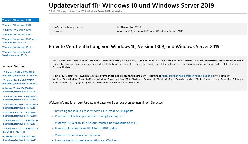 Windows Update History Updateverlauf