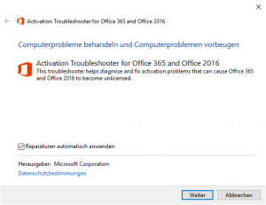 Activation Troubleshooter for Offcei 365 and Office 2016