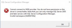 Microsoft SQL Server WMI Problem