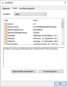 SHA256 Zertifikat mit SHA1 Fingerprint