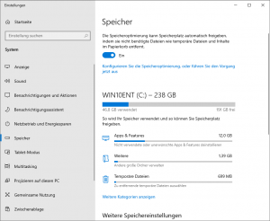 Windows 10 v1903 Storage Sense