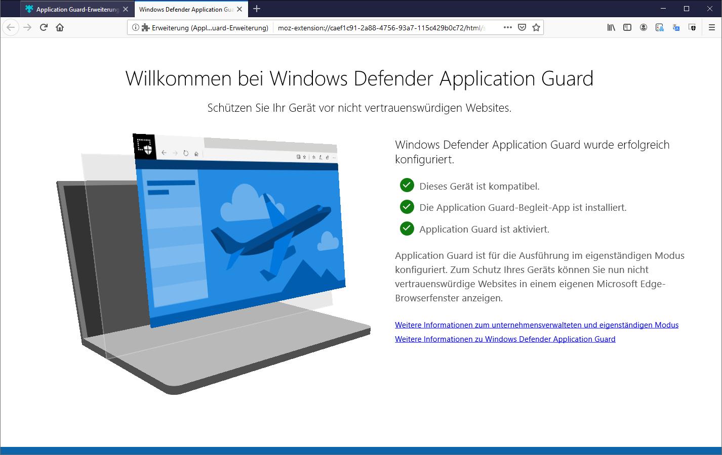 Windows Defender Application Guard Edge Chrome